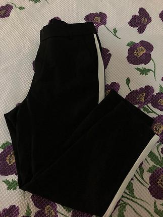 s Beden Beyaz şeritli kumaş pantalon