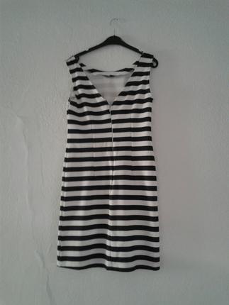 m Beden Zebra Desen elbise