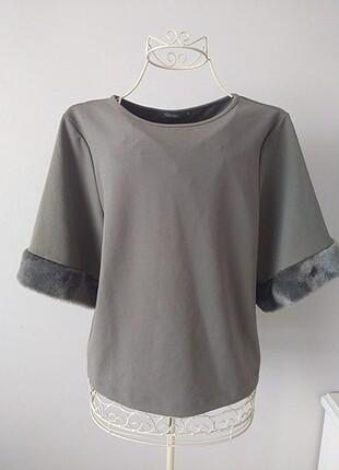 Kolları Kürk Detaylı Bluz