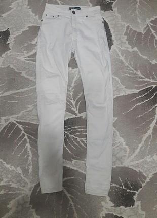 beyaz yüksek bel pantolon