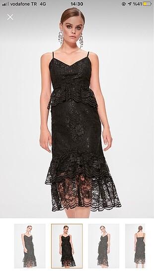 Siyah volan detaylı elbise