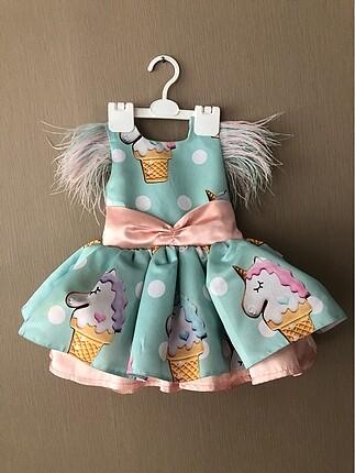 Kiralık.Unicorn desenli doğum günü elbisesi,abiye,party elbise
