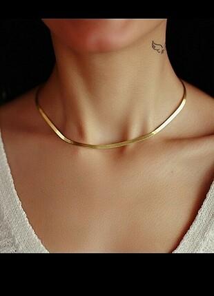 Gold renkli İtalyan yassı kolye