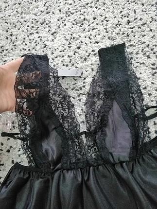 s Beden siyah Renk dantelli gecelik