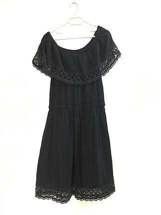 Penti kayık yaka siyah elbise