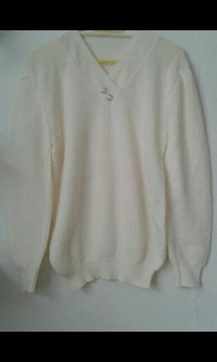 beyaz salaş mevsimlik swet trend kazak