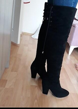 38 Beden siyah Renk Uzun çizme süet bağcıklı