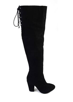 38 Beden siyah Renk Uzun çizme bağcıklı süet