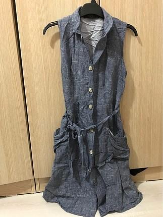 Yazlık ince salaş kot elbise