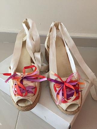 Hasır topuklu Flower marka sandalet