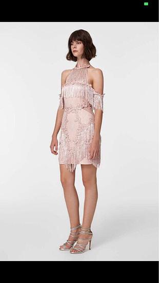 Püsküllü mini elbise