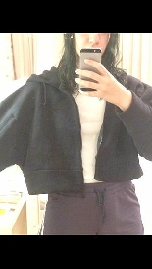 Siyah crop ceket