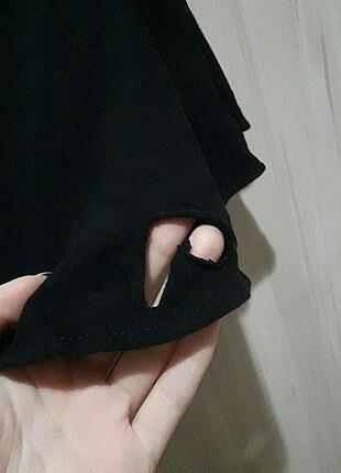s Beden Siyah bershka madonna yaka kısa üst