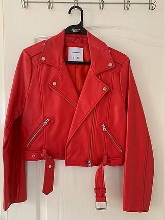 Kırmızı Deri Biker Ceket