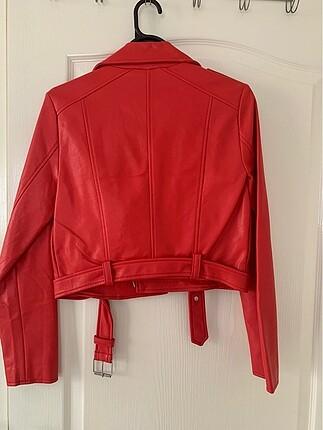 s Beden Kırmızı Deri Biker Ceket