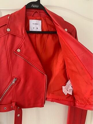 s Beden kırmızı Renk Kırmızı Deri Biker Ceket