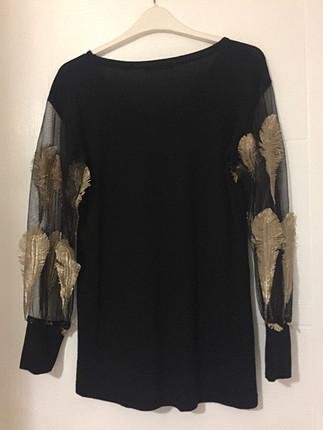 s Beden siyah Renk Bayan Addax marka kolları altın sarısı işlemeli bluz