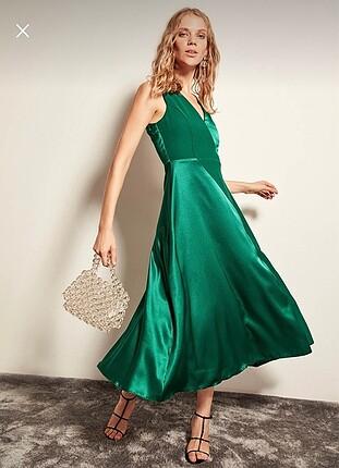 m Beden yeşil Renk Abiye Elbise