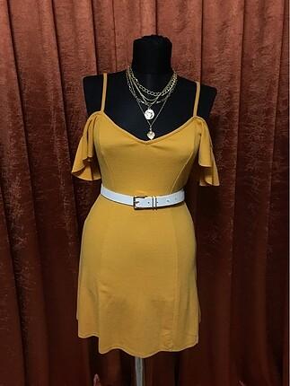 Hardal mini yazlık elbise