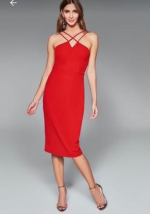 Çapraz askılı kalem elbise