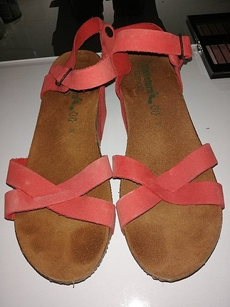 39 Beden pembe Renk nar çiçeği dolgu topuk sandalet