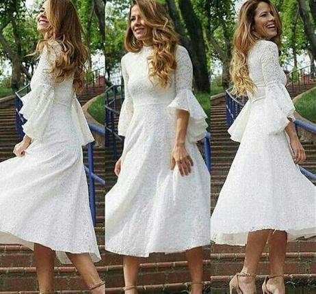 1ee500077ee3d Beyaz Dantel Elbise Diğer Uzun Abiye %35 İndirimli - Gardrops