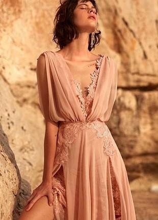 Pudra Pembesi Uzun Elbise