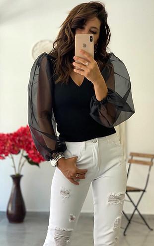 Zara Organze kol siyah bluz