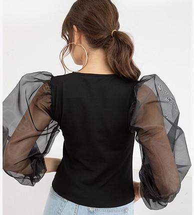 s Beden siyah Renk Organze kol siyah bluz