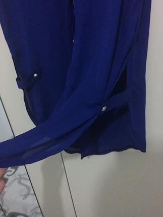 40 Beden mavi Renk Saks şifon tunik