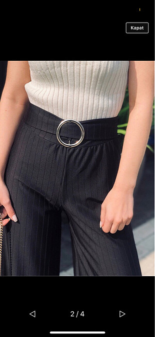 SiyahKemerli kumaş pantolon