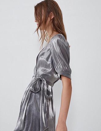 xs Beden metalik Renk Metalik görünümlü elbise