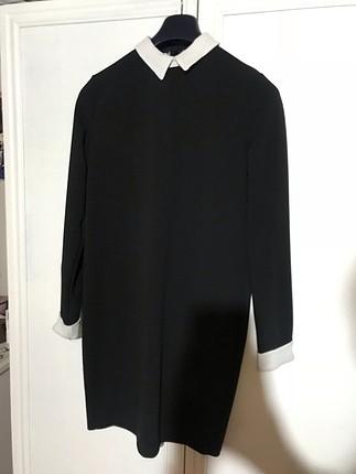 99008cb1ebb1f Beyaz Yakalı Siyah Elbise Batik Kısa Elbise %60 İndirimli - Gardrops