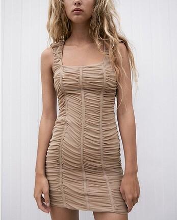 Zara tül elbise bej pembe