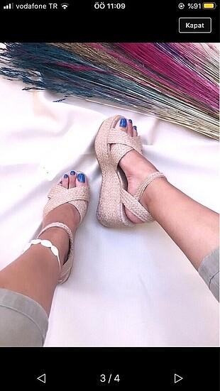 Hasır sandalet dolgu topuklu ayakkabı
