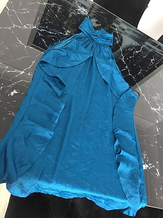 Petrol mavisi saten ipekyol marka elbise
