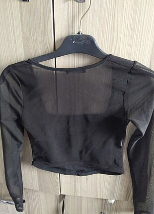 Bershka Tül detaylı bluz