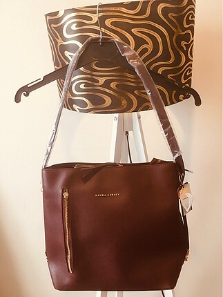 Orjinal Laura Ashley markalı Özel koleksiyon bordo bayan çantası