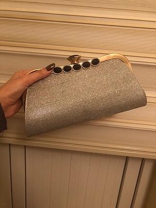 Gri simli abiye çanta