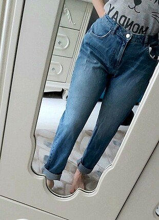 Mom jean kot pantolon