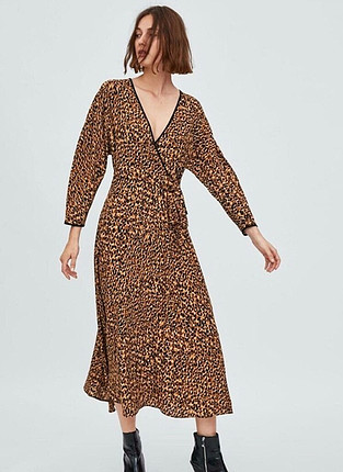 Zara leopar uzun elbise
