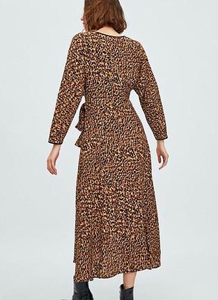 Zara Zara leopar uzun elbise