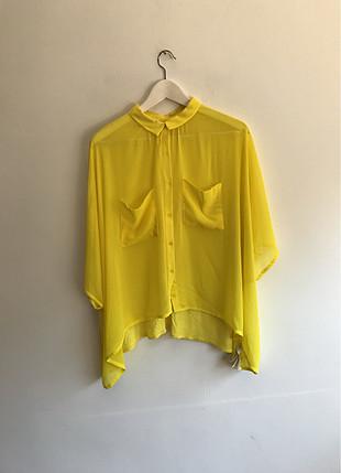 Sarı transparan gömlek
