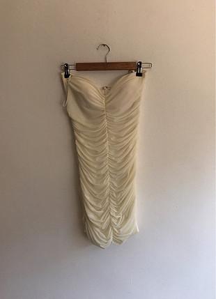 Straplez Beyaz mini elbise