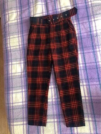 Ekose yüksek bel kemerli pantolon