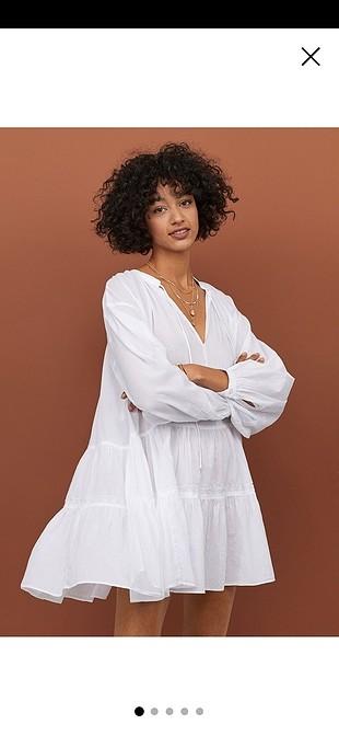 farbalalı beyaz elbise yazlık M beden