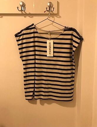 New look siyah bej tisort tshirt cizgili bluz ust giyim