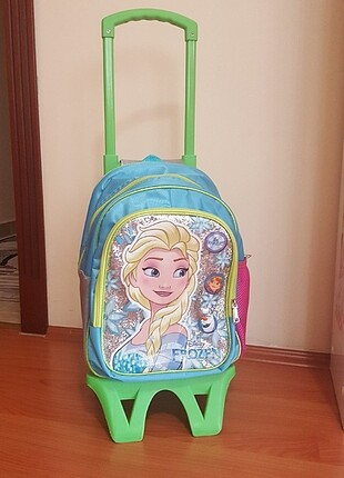 Kiz çocuk frozen çekçekli ilkokul çantası
