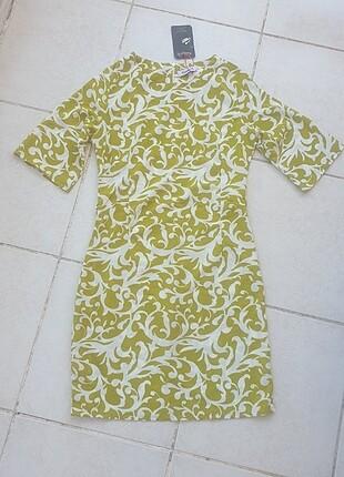 Yeşil Beyaz yazlik şık elbise