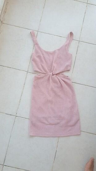 Toz Pembe beli dekolteli Mini elbise
